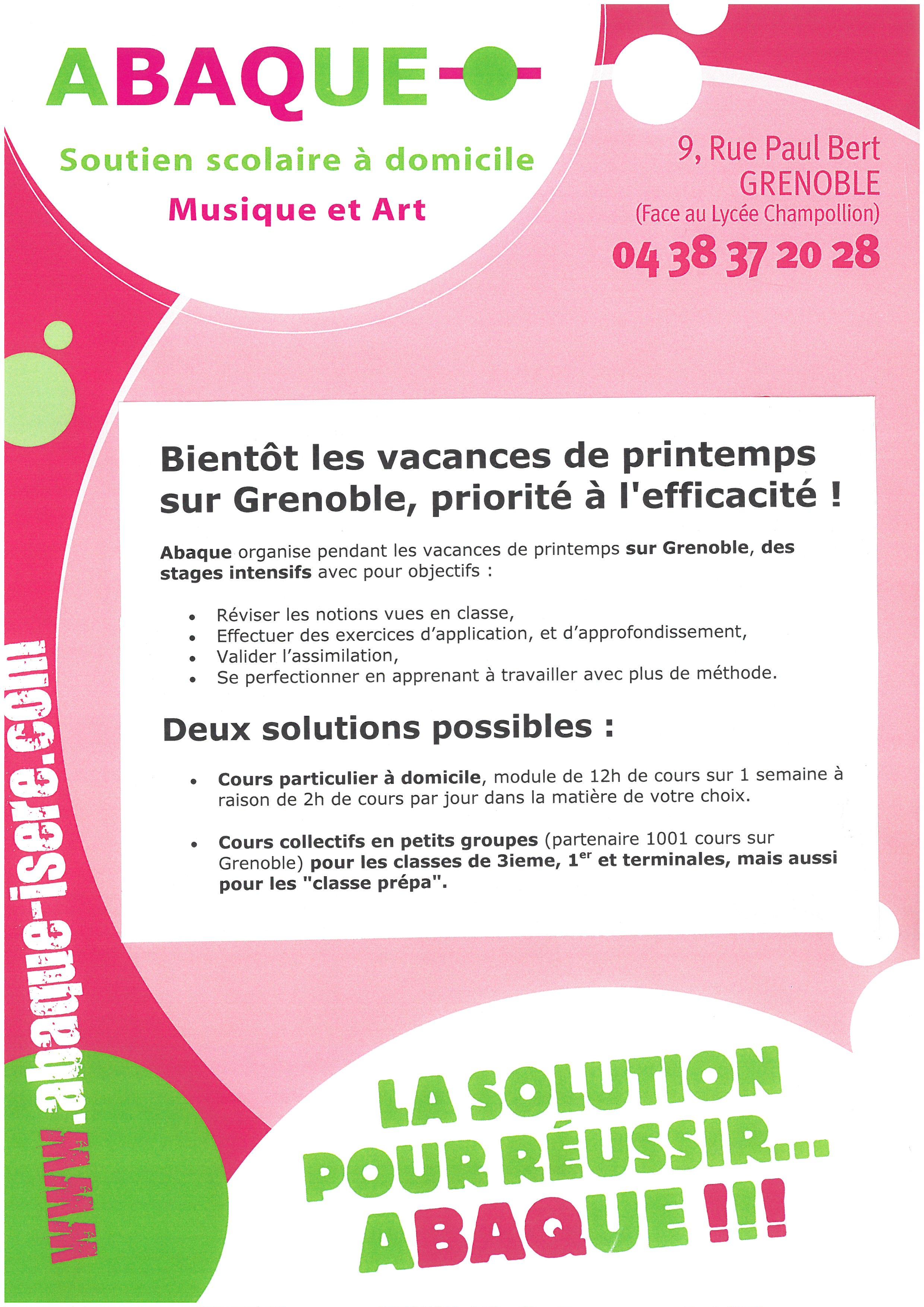 Vacances de printemps, stages intensifs sur Grenoble, spécial BAC et DNB